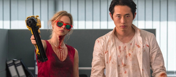 Steven Yeun and Samara Weaving